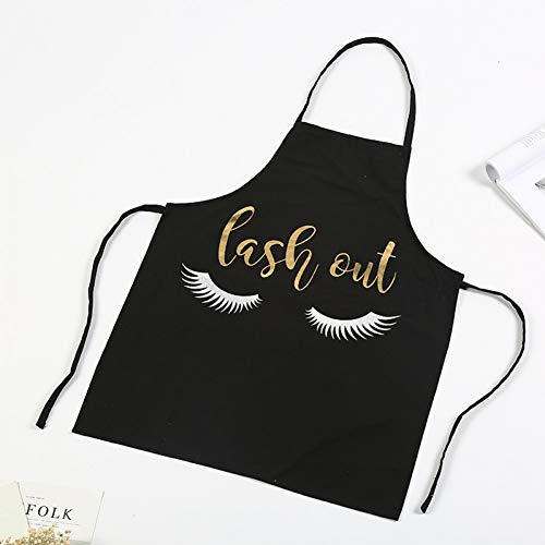 LWEIQUN 1 Stück Mode Bronzing Wimpern Küchenschürze Für Frauen Adlut Haushaltsreinigungsschürze Kreative Arbeitskleidung Täglichen Notwendigkeiten