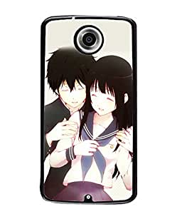 Fuson Love Couple Back Case Cover for MOTOROLA GOOGLE NEXUS 6 - D3912