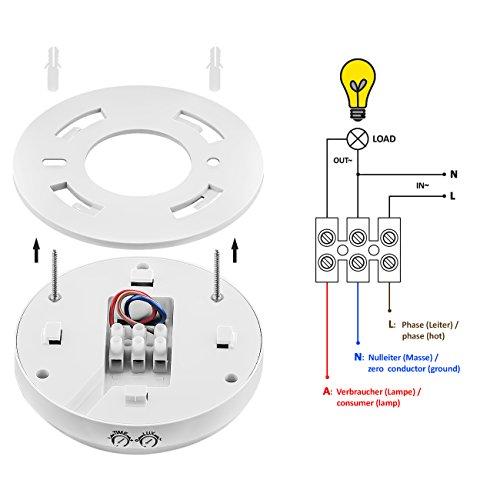 deleyCON Infrarot Decken-Bewegungsmelder – für Innenbereich – 360° Arbeitsfeld – Reichweite bis 6m – einstellbare Umgebungshelligkeit – IP20 Schutzklasse – optimal für Deckenmontage – Weiß - 3