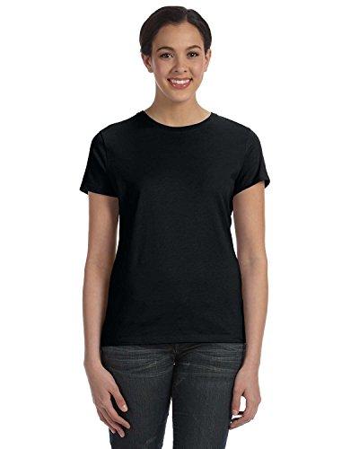 hanes-silver-ladies-corte-clasico-camiseta-de-hilado-y-de-algodon-negro-negro-large
