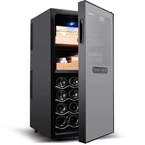 GXFC Weinkühlschrank, Zigarren Humidor, Dual Temperature Zone Kühlschrank, Berührungssteuerung/Digitale Temperaturanzeige/Leiser Betrieb Kühlschrank