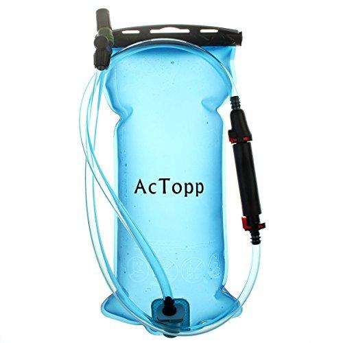 AcTopp Trinkblase 2L FDA genehmigt lecksicher Trinkbeutel mit Filter Wasserreservoir Rucksack Trinksystem für Rucksack