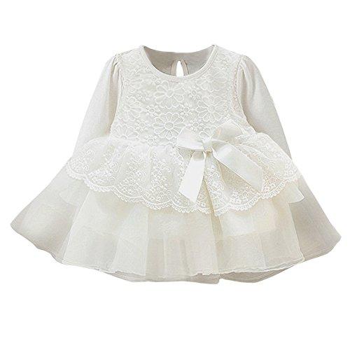 Floral Spitze Prinzessin Kleid Kleinkind Kinder, DoraMe Baby Mädchen Lange ärmel Party Kleid Bogen Hochzeit Kleider Gestreiften Outfit Kleidung für 3-12 Monate (Weiß, 3 Monate)
