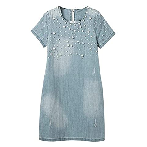 SODIAL(R) Light Blue Denim Dress Loose Short Sleeve Jeans Dress O-neck Loose Casual Washed Beaded Elegant Evening Party Lady Dresses