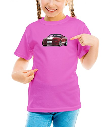 Billion Group | Performance Design | American Muscle | Fast Car Club | Girls Classic Crew Neck T-Shirt Pink Large