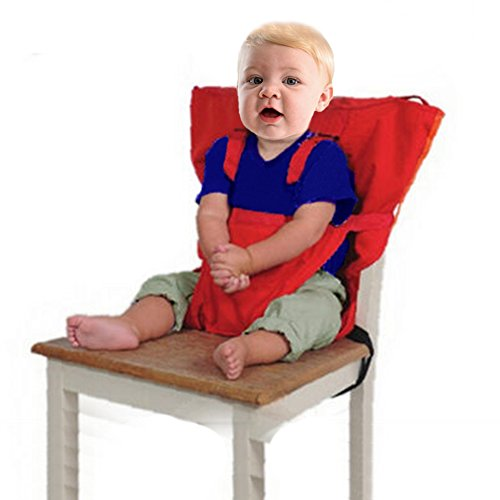 Hibote Desmontable y Ajustable Asiento Portatil Trona de Viaje para Bebé, Rojo