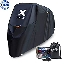 XYZCTEM Motorbike Cover, Waterproof Heavy Duty Durable Thick 210D Oxford, All Season Outdoor Protection for Motorcycle up to 104 Inches Long