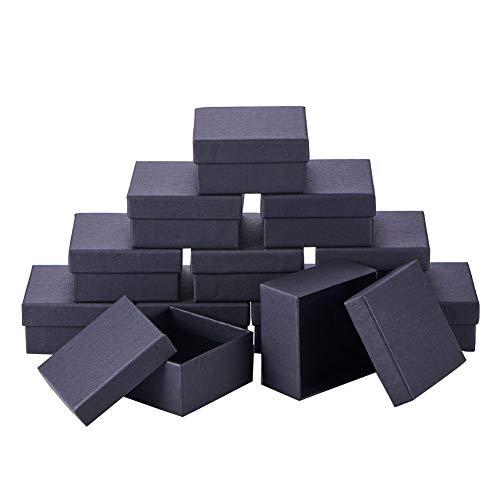 nbeads 12Karton Schmuck Set Box, für Ring, Halskette, quadratisch, 7x 7x 3,5cm Schwarz