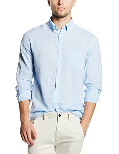 Cortefiel Herren Sporthemd Lisa Lino T-Soft Collar Blues