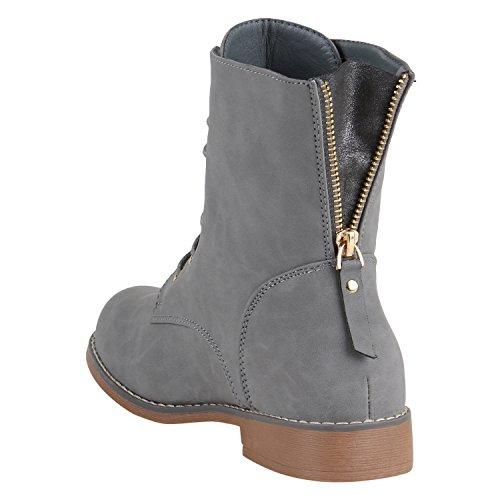 Damen Schnürstiefeletten Leder-Optik Profilsohle Stiefeletten Schuhe 149610 Grau Camiri 40 Flandell