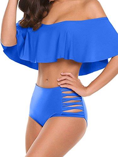 Yodensity Damen Badeanzug Bikini Set Schulterfrei Push up Ohne Bügel für Strand und Schwimmbad Dunkelblau