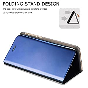 Johra Luxury Clear View Electroplate Mirror Acrylic Protective Leather Flip Case Cover for Samsung Galaxy S8 (Blue)