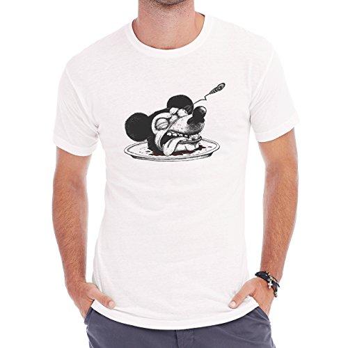 Mickey Mouse Blood Fork Eye Stab Headless Herren T-Shirt Weiß
