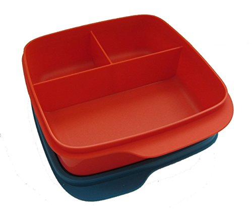 Tupperware Lunchbox Behälter mit Trennwand 550 ml Brotbox Kindi Schule Clevere Pause rot/blau