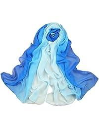 73c59c8a5a6b Westeng Foulard Bleu Foulard en Mousseline de Soie Foulard Femme pour Eté 160  x 50 cm