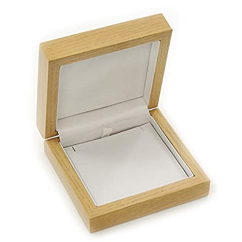 Luxury Wooden Natural Pine Jewellery Presentation Box (Earrings, Pendant, Brooch)