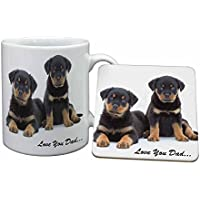 Rottweiler Dogs Dad Sentiment Mug and Table Coaster, Ref:DAD-94MC