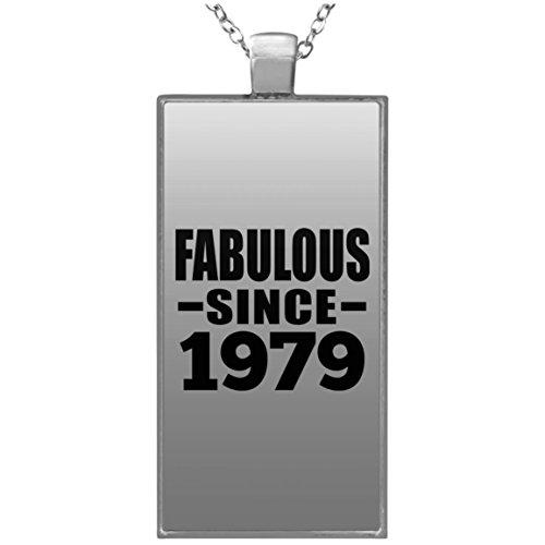 40th Birthday Fabulous Since 1979 - Rectangle Necklace Halskette Rechteck Versilberter Anhänger - Geschenk zum Geburtstag Jahrestag Muttertag Vatertag Ostern