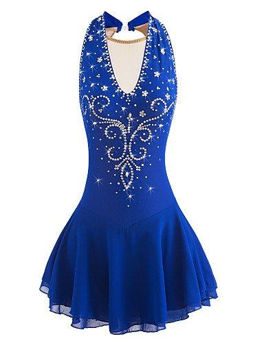 kunstlauf Kleid für Mädchen Frauen Rollschuhkleid Wettbewerb Kostüm Ärmelloses Aquamarin Blau, 16 (Kostüm Wettbewerb 2017)