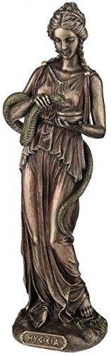 Figur Hygieia griechische Göttin der Heilung und der Hygiene bronziert Skulptur Asklepios
