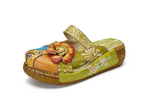 Sandali estive donna, popoti sandali zeppa ciabatte in pelle pantofole mocassini pompe boemia fiore eleganti slip-on flip flops sandali con tacco infradito spiaggia nuovo bassi scarpe (verde, 38)