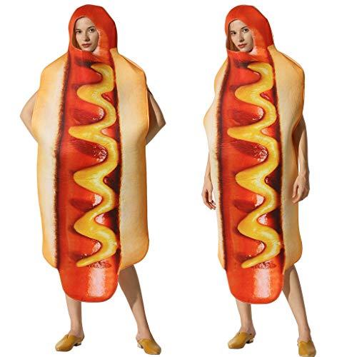 TDFGCR 3D Hot Dog dreidimensionales Kostüm Halloween Kleider Unisex Wurst Kleid einzigartiges Design Großflächiger Druck bequem und einfach zu - Hot Dog Kostüm Muster