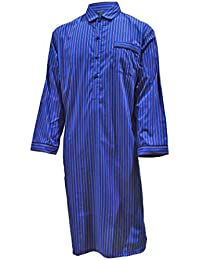 Lloyd Attree & Smith Men's Luxury Cotton Nightshirt - Blue & Maroon Stripe