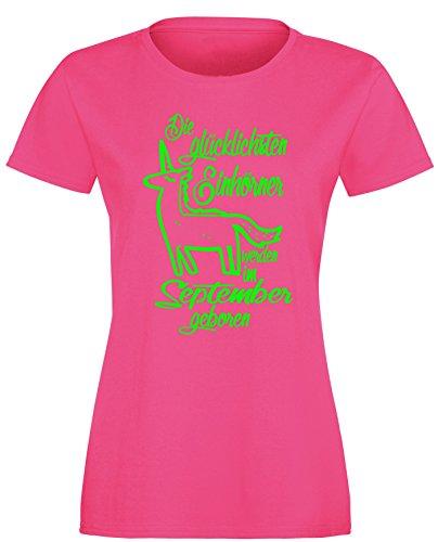 Die Glücklichsten Einhörner werden im September geboren! Perfektes Geschenk zum Geburtstag - Damen Rundhals T-Shirt Fuchsia/Neongruen
