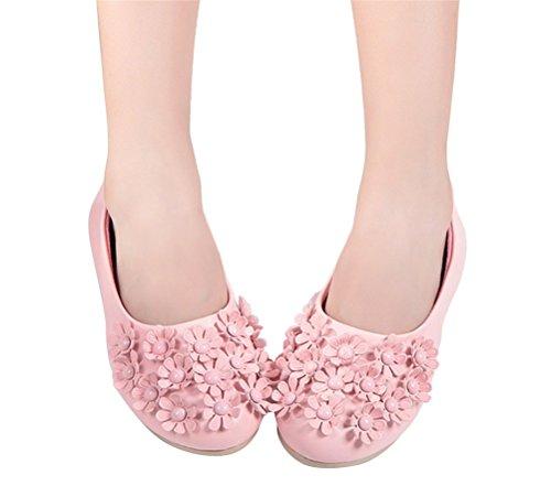 Brinny Chaussures Ville Baptême Enfant Fille Princesse Ballerine Floral Sandale Cérémonie Mariage Simili Cuir Souple pink