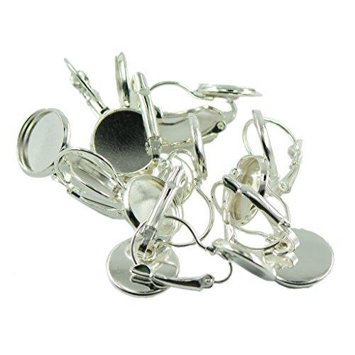 Homyl 12er Set Klappbrisuren mit Fassung Ohrhaken Ohrringe Haken Cabochons Ohrschmuck DIY - Silber, 27x14mm