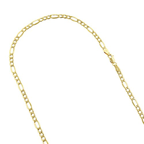 10k-18-yellow-gold-45mm-diamond-cut-figaro-chain-lite-link-necklace-with-lobster-clasp