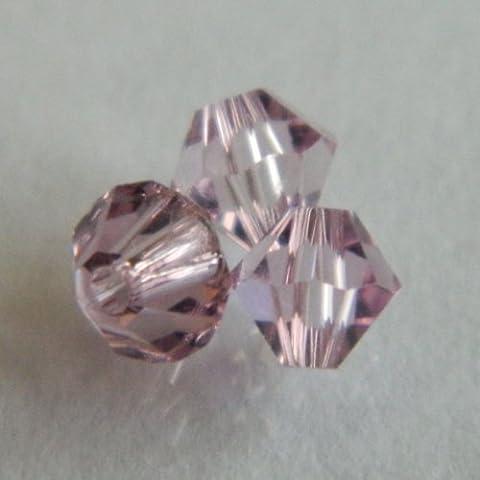 Cristallo Ametista chiaro perline bicono 4mm, confezione da 50 - Ametista Bicono