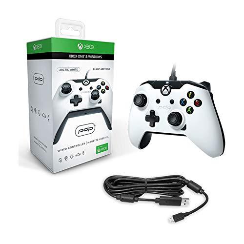 RQINW Xbox One PDP DX-Kabelcontroller, kabelgebundener Gamecontroller, Rutschfeste Griffe, 3,5-mm-Audiobuchse für Xbox One und Windows 8 und höher, Weiß