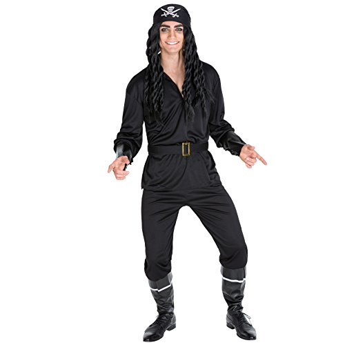 Herrenkostüm Pirat | Kostüm + Dreiecks-Kopftuch + Stiefelstulpen + Armstulpen & Gürtel | Captain Seeräuber Verkleidung (S | Nr. 300706)