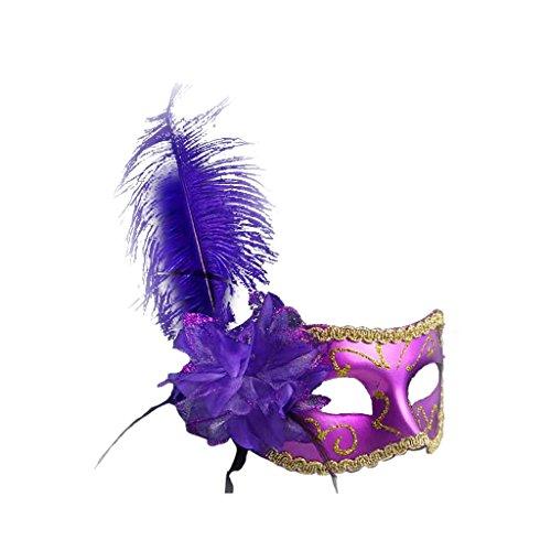 Gazechimp Maskenball Augenmaske mit Feder Blume Maske Fasching Partei Kostüm - (Feder Kostüme Augenmaske)