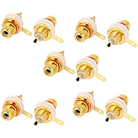 10 Pcs Conector de Soldadura para RCA Hembra Mamparo Instalado en Chasis de audio de Audio de Color Oro