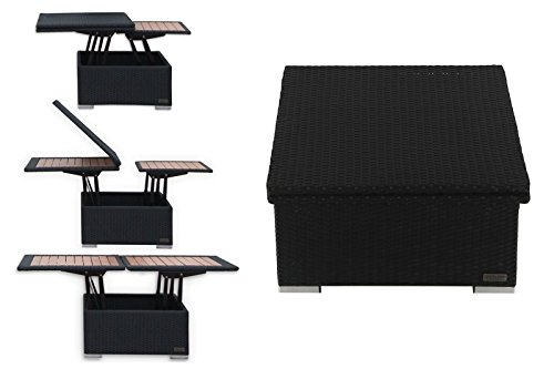 Outflexx Loungetisch, Polyrattan, schwarz, 152 x 75 x 40 cm
