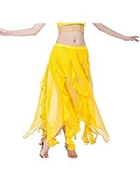 6f788077671f YuanDian Femme Mousseline Longue Jupe De Danse du Ventre Lotus Feuilles Fil  d or Côtés élastique Taille Professionnel Arabe…