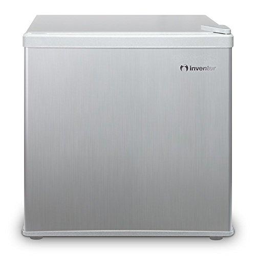 Inventor Mini-Kühlschrank 43L, Energieklasse A++, Lagervolumen 43L, Energieverbrauch 84 kWh/Jahr, wechselbarer Türanschlag, Höhe 49,2 cm, Farbe: Silber (Geringer Energie Mini-kühlschrank)