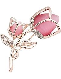 Fashion Women Jewellery Cat Eye Opal Pink Rose Brooch with Swaroski Element Crystal