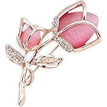 uniqueen Mujeres, estilo vintage Cat Eye Opal Rosa brooches Pin con Swaroski Elemento Cristal barata