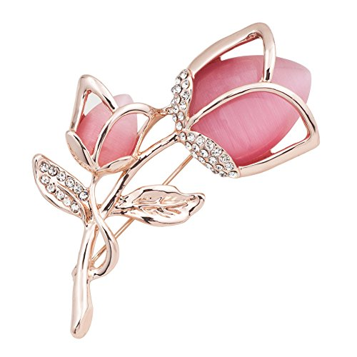 Isajewelry Rose Brooches With Pink Crystal Flower Fashion Jewellery Pin For Women