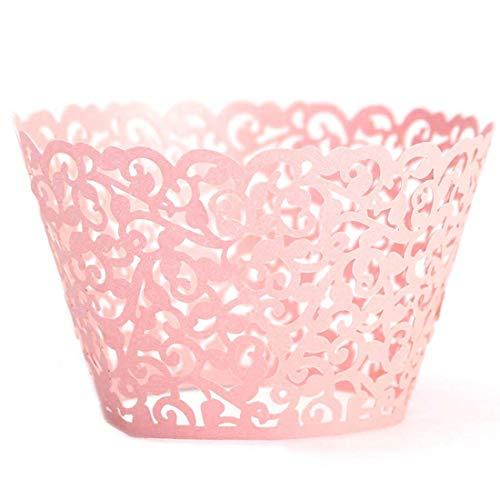 per, Papier Backförmchen Muffin Papier Spitze Cupcake Wrappers 25 Stück Cupcake Dekoration für Hochzeiten, Geburtstage, Party, Weihnachten (Rosa) ()