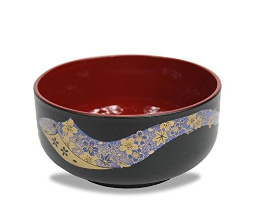 Laque japonaise Bol de nourriture, Noir avec Bleu et or Floral Motif poisson, intérieur Rouge