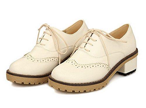 VogueZone009 Femme Lacet à Talon Correct Pu Cuir Couleur Unie Rond Chaussures Légeres Beige
