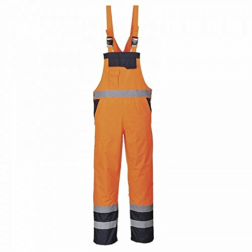 Portwest S488 Unisex Neon-Latzhose / Arbeitslatzhose, ungefüttert (Medium) (Orange/ Marineblau)