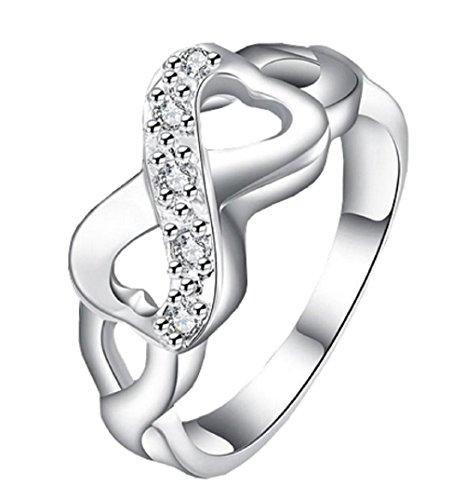 Anillo de plata con forma de arco infinito