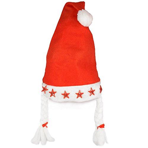 Weihnachtsmütze Nikolaus-Mütze Weihnachtskostüm Damen mit 5 LED Lampen und Zöpfen für Weihnachten Santa Claus (Led Kostüm Familie)