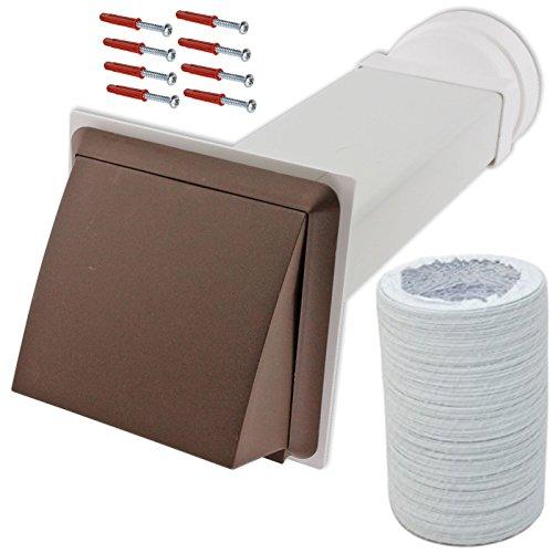 Spares2go Mur extérieur kit de ventilation et rallonge de tuyau pour sèche-linge Brandt (Marron, 10,2 cm/102 mm)