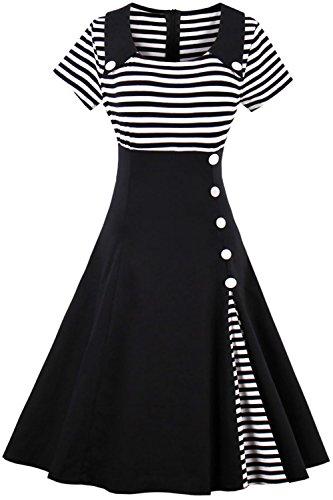 2017 Damen 50er Jahre Retro Kleid Swing Cocktailkleid Partykleid Pin up gestreift Lang, Schwarz 2,...